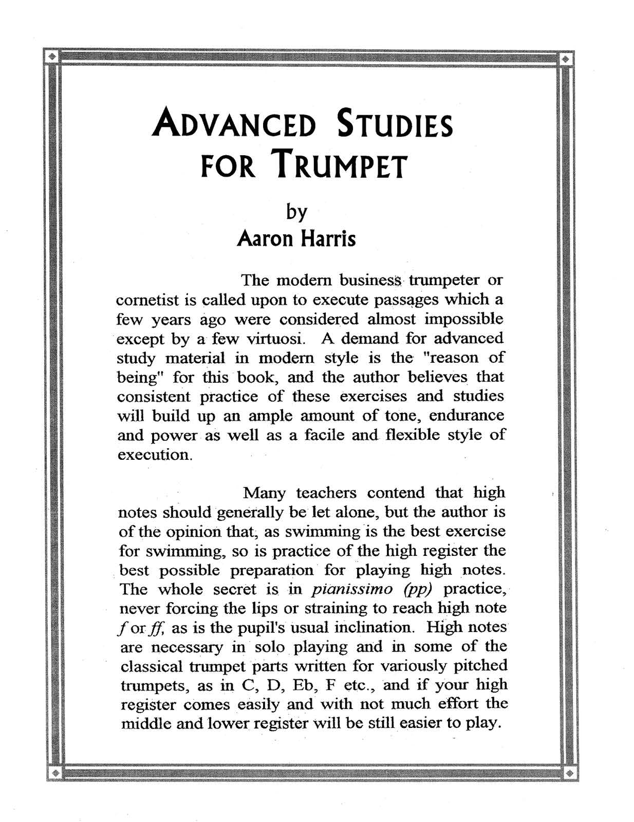 Harris, Aaron Advanced Studies For Trumpet
