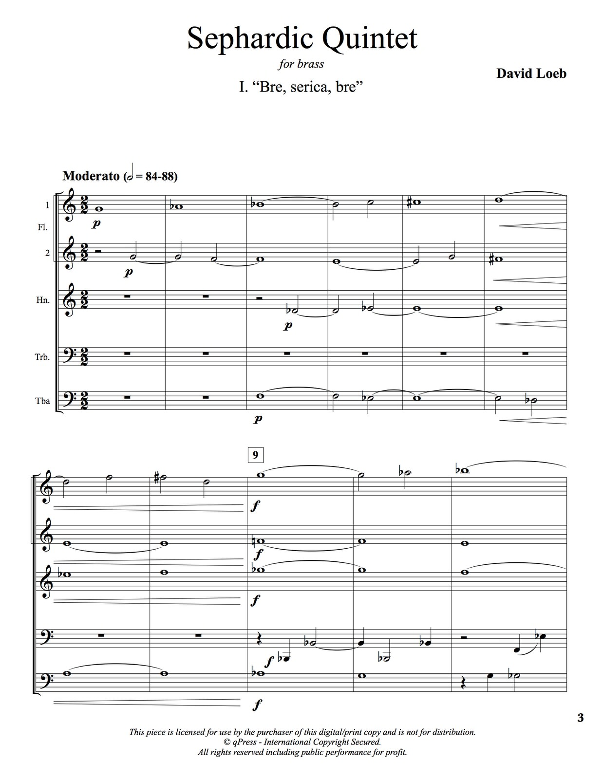 Sephardic Quintet for Brass PDF
