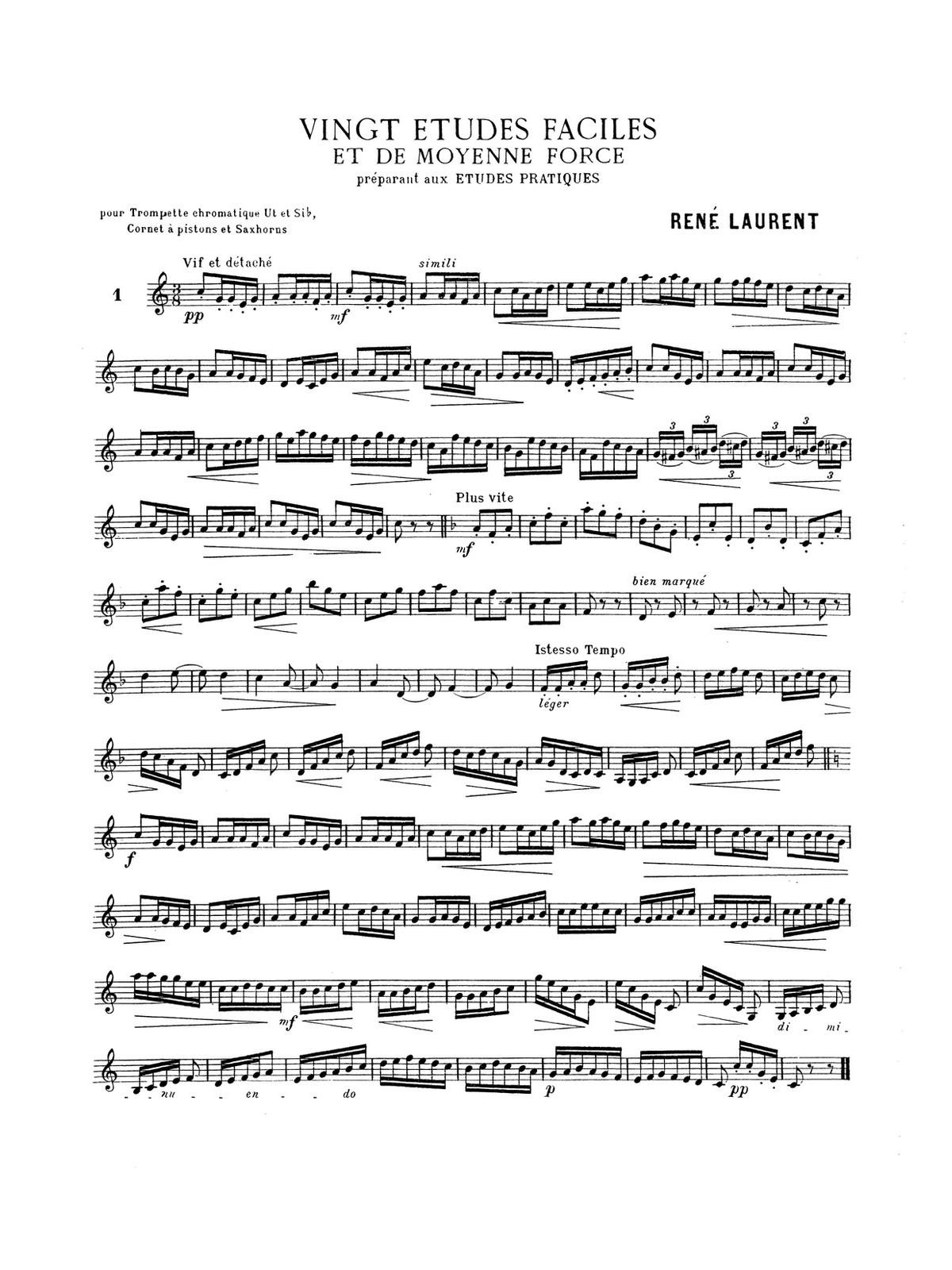 Laurent, Vingt Etudes Faciles et de Moyenne Force PDF