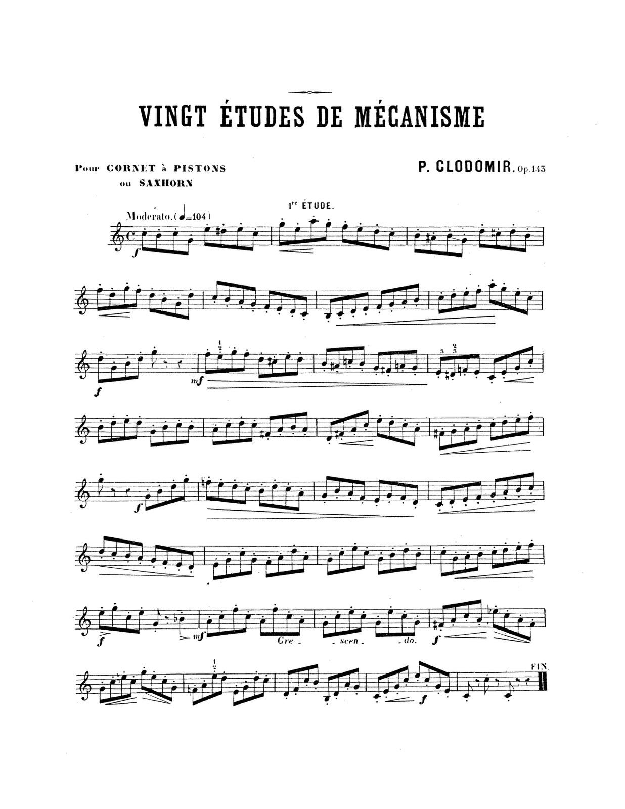 Clodomir, Ecole Moderne Vol.5 Vingt Etudes De Mechanism PDF