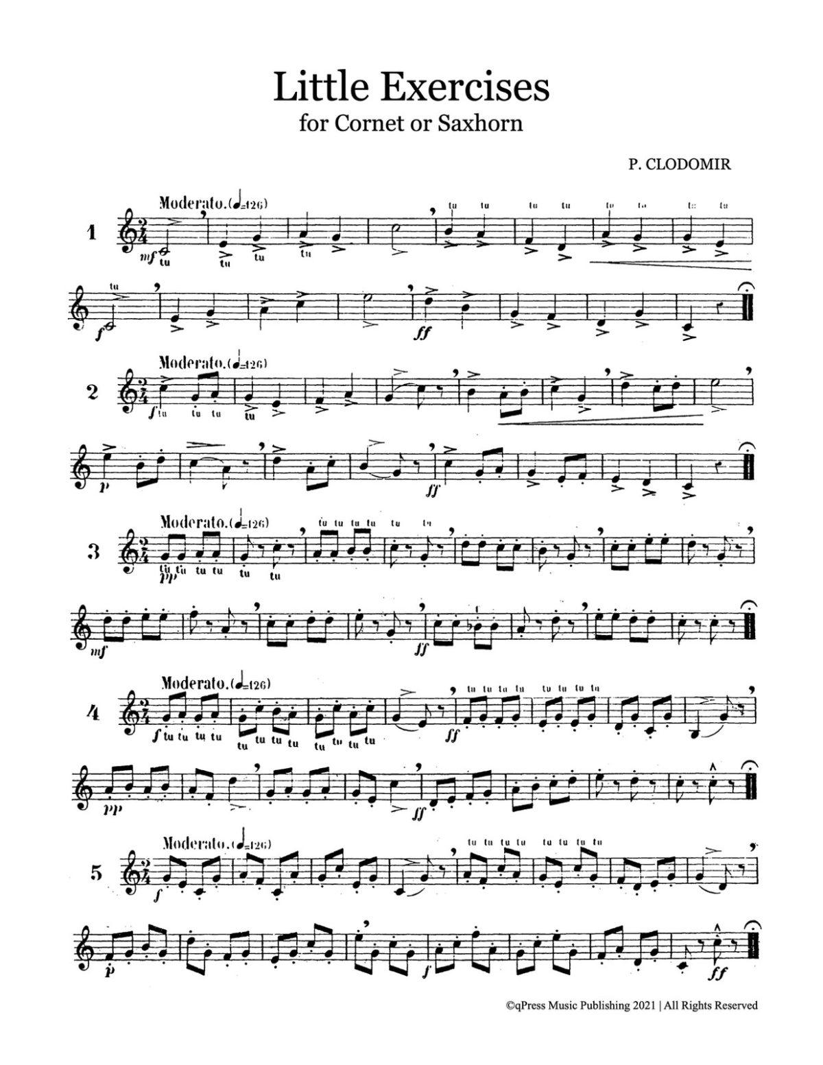 Clodomir, Modern Trumpet School 1, Little Exercises-p03