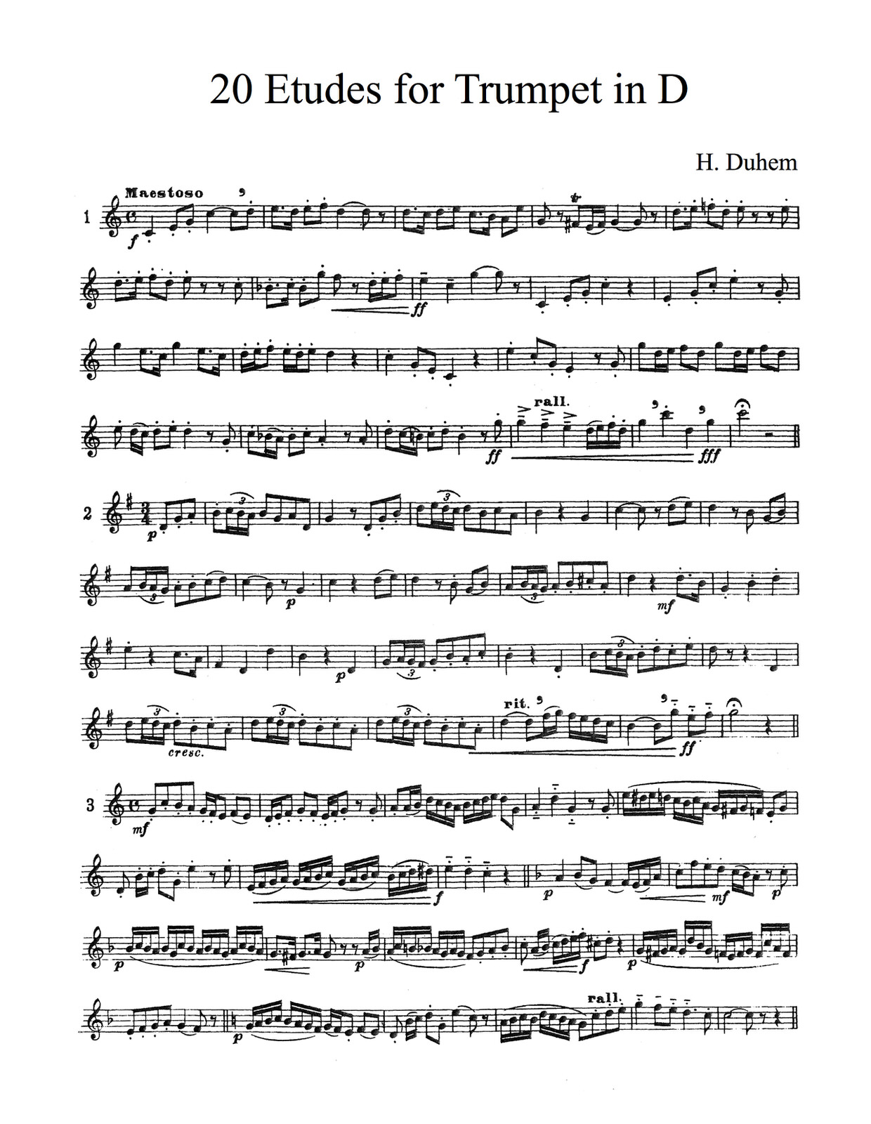 Duhem, 20 Etudes for Trumpet in D