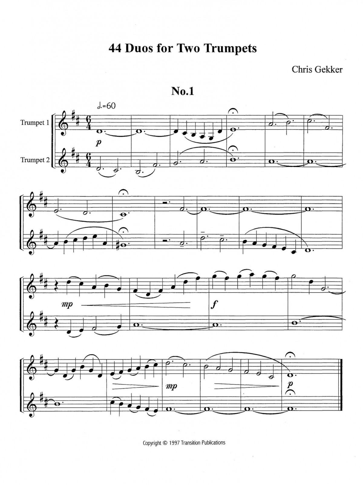 Gekker 44 Duos for Trumpet PDF