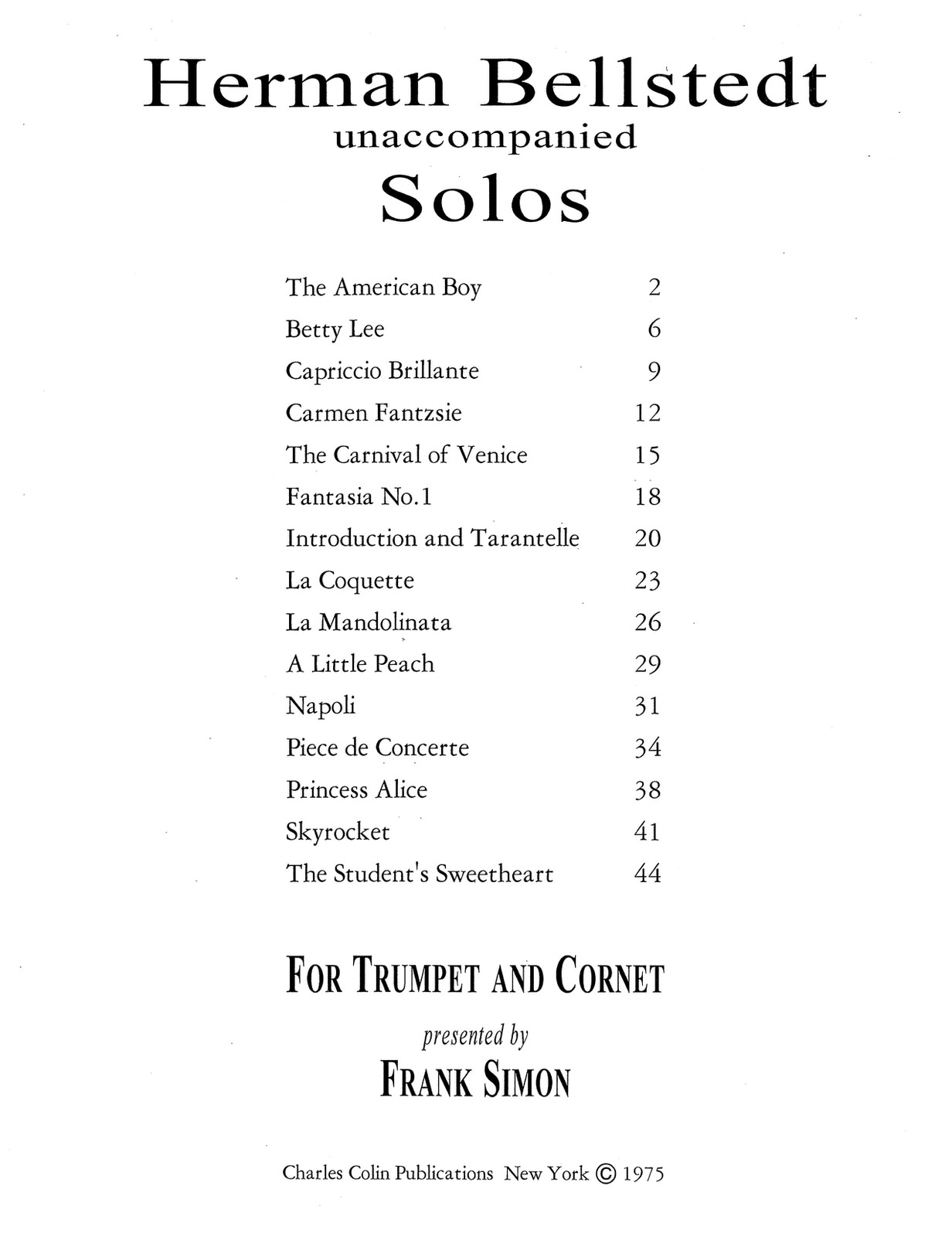 Bellstedt, Solos for Trumpet 2