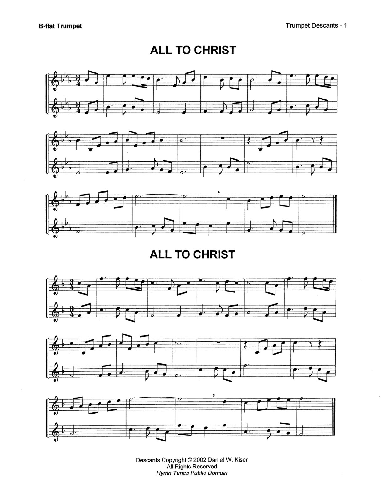 Kiser, Trumpet Descants for Selected Hymns 3