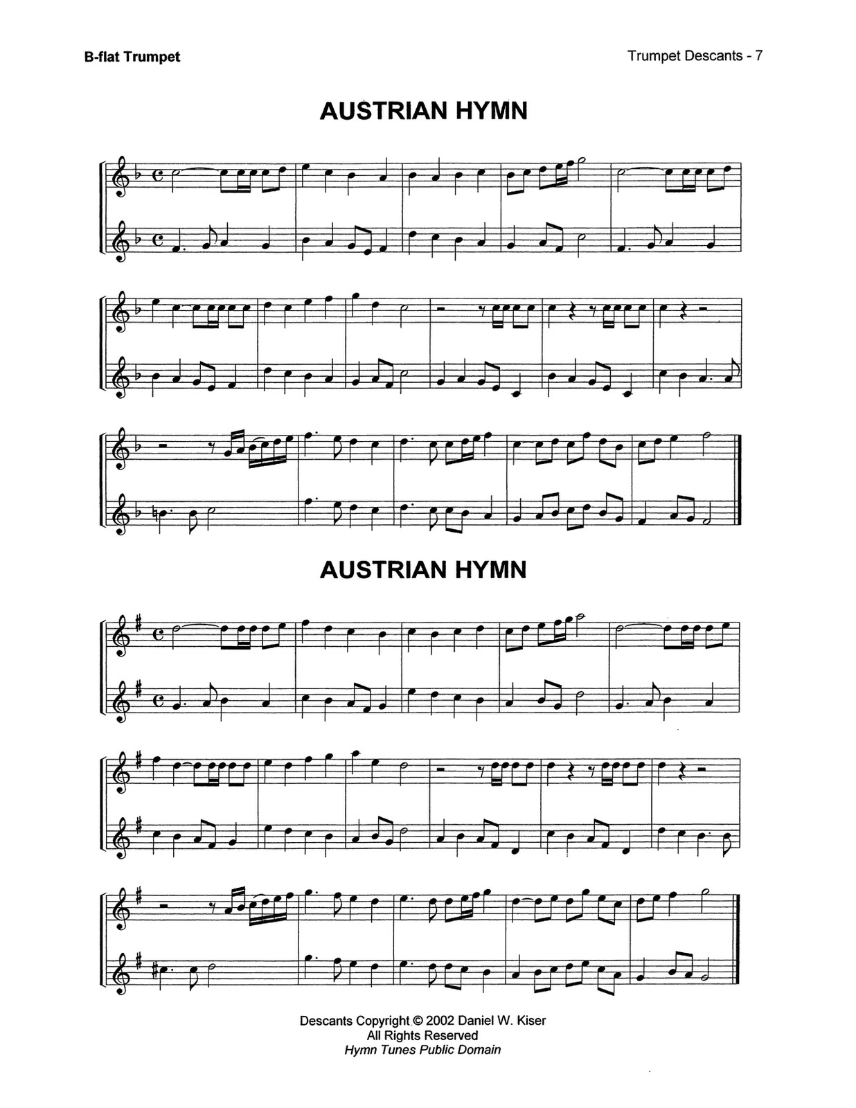 Kiser, Trumpet Descants for Selected Hymns 4