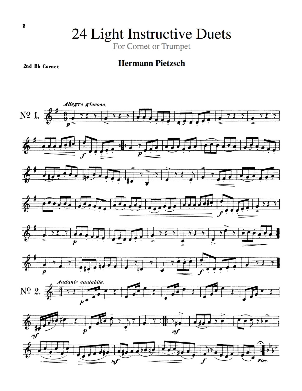 Pietzsch, 24 Light Instructive Duets Trumpet 2 4