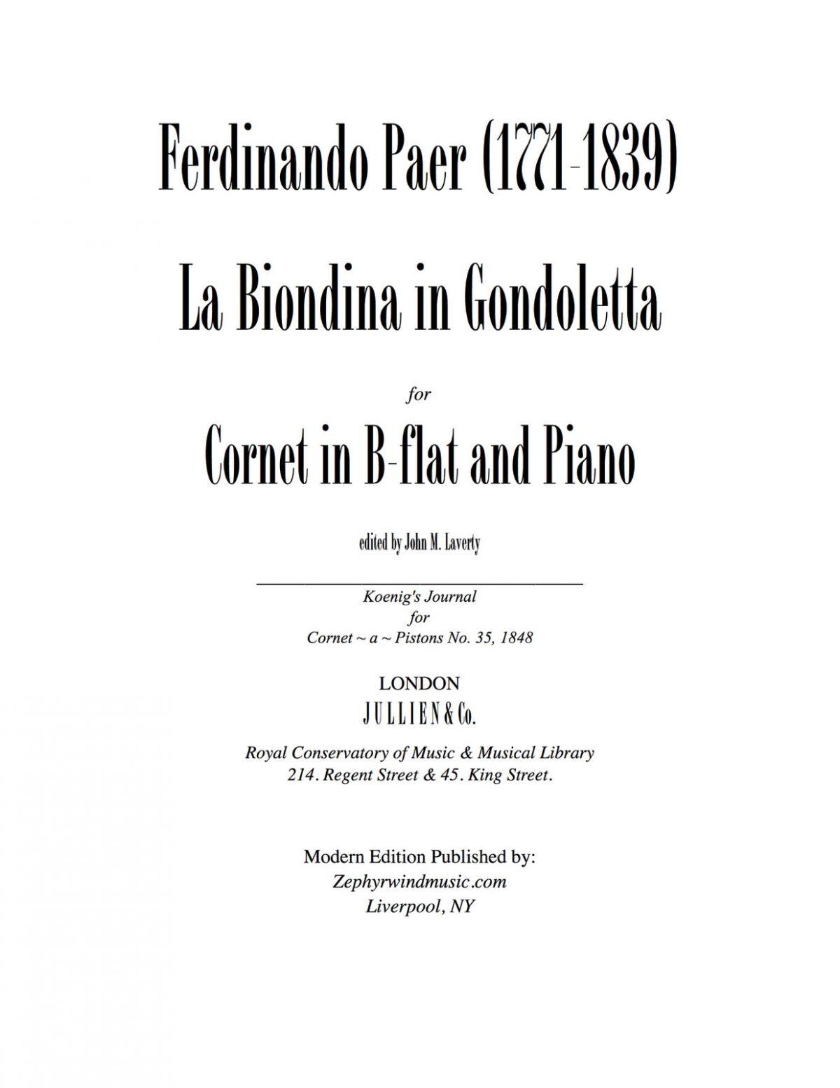 Paer, Le Biondina