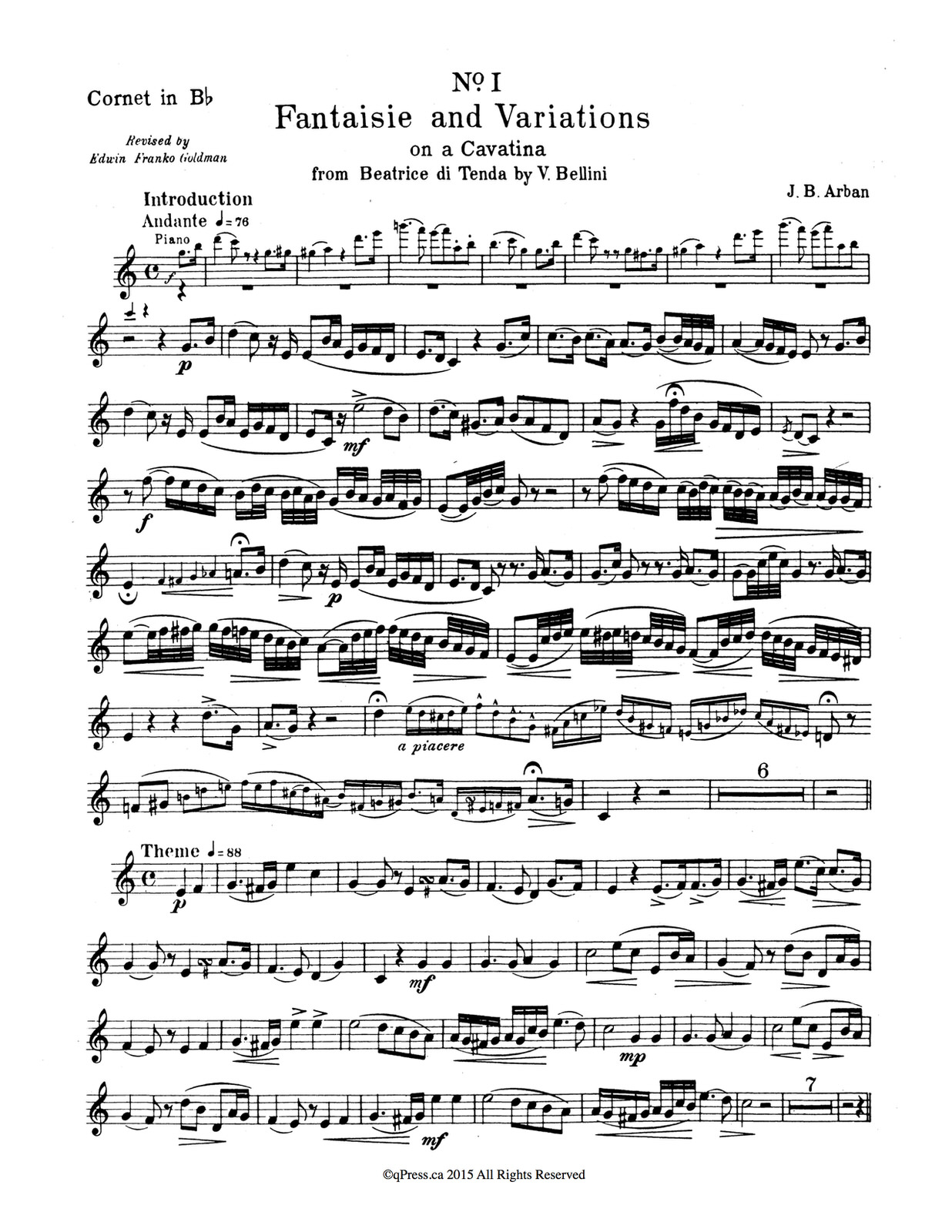 Arban, 12 Celebrated Fantasies and Airs Solo 3