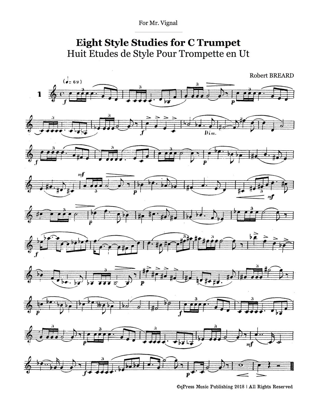 Breard, Robert, Huit Etudes de Style for C Trumpet-p03
