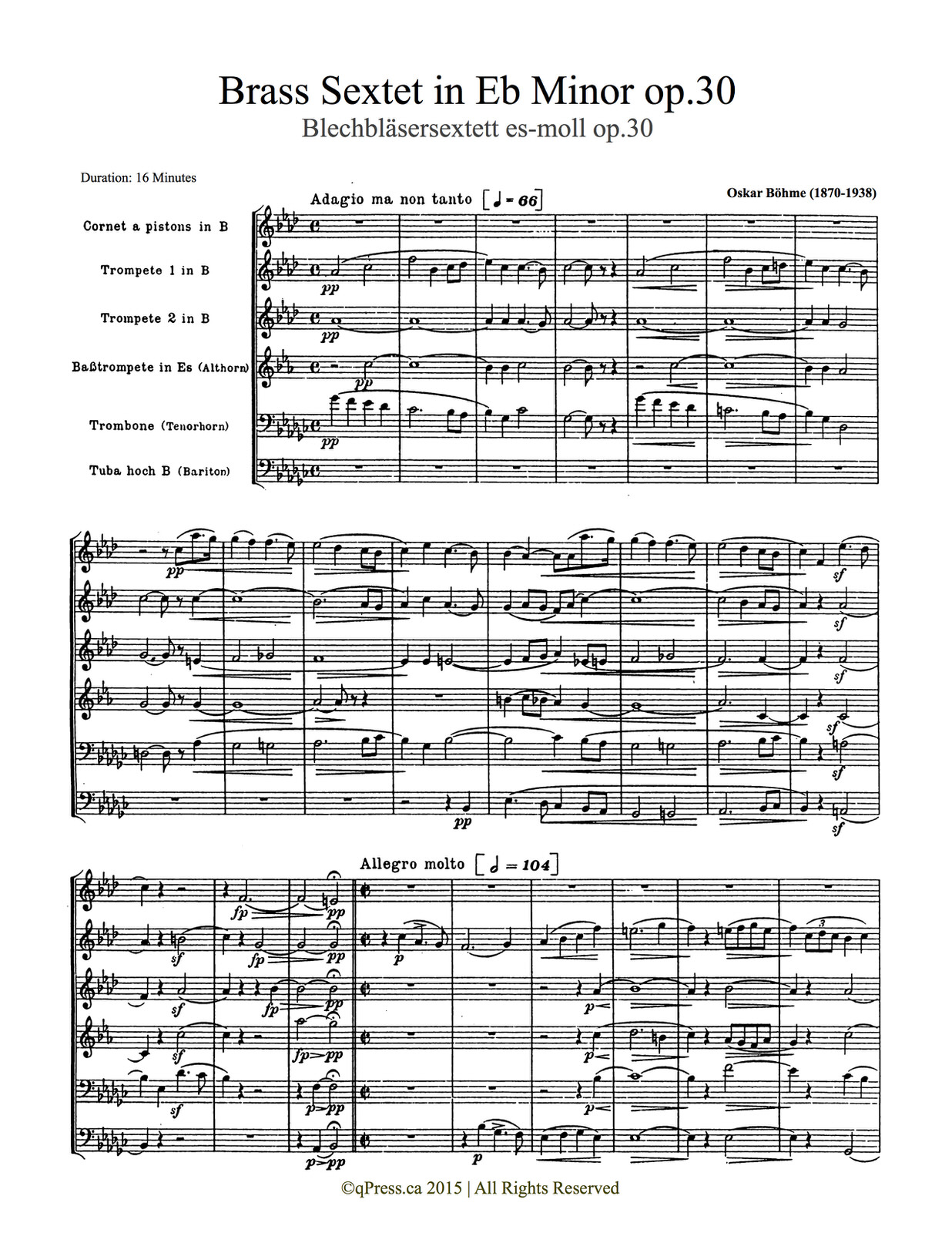 Bohme, Sextet (Score and Parts) 10