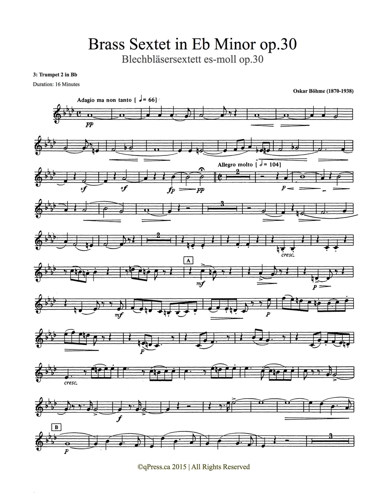 Bohme, Sextet (Score and Parts) 4