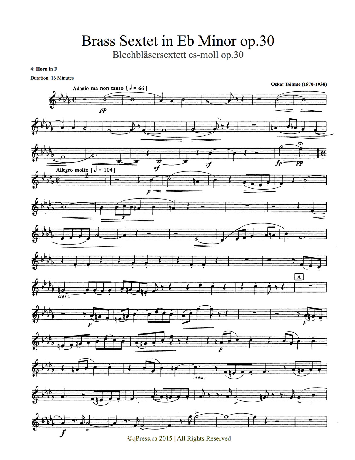 Bohme, Sextet (Score and Parts) 5
