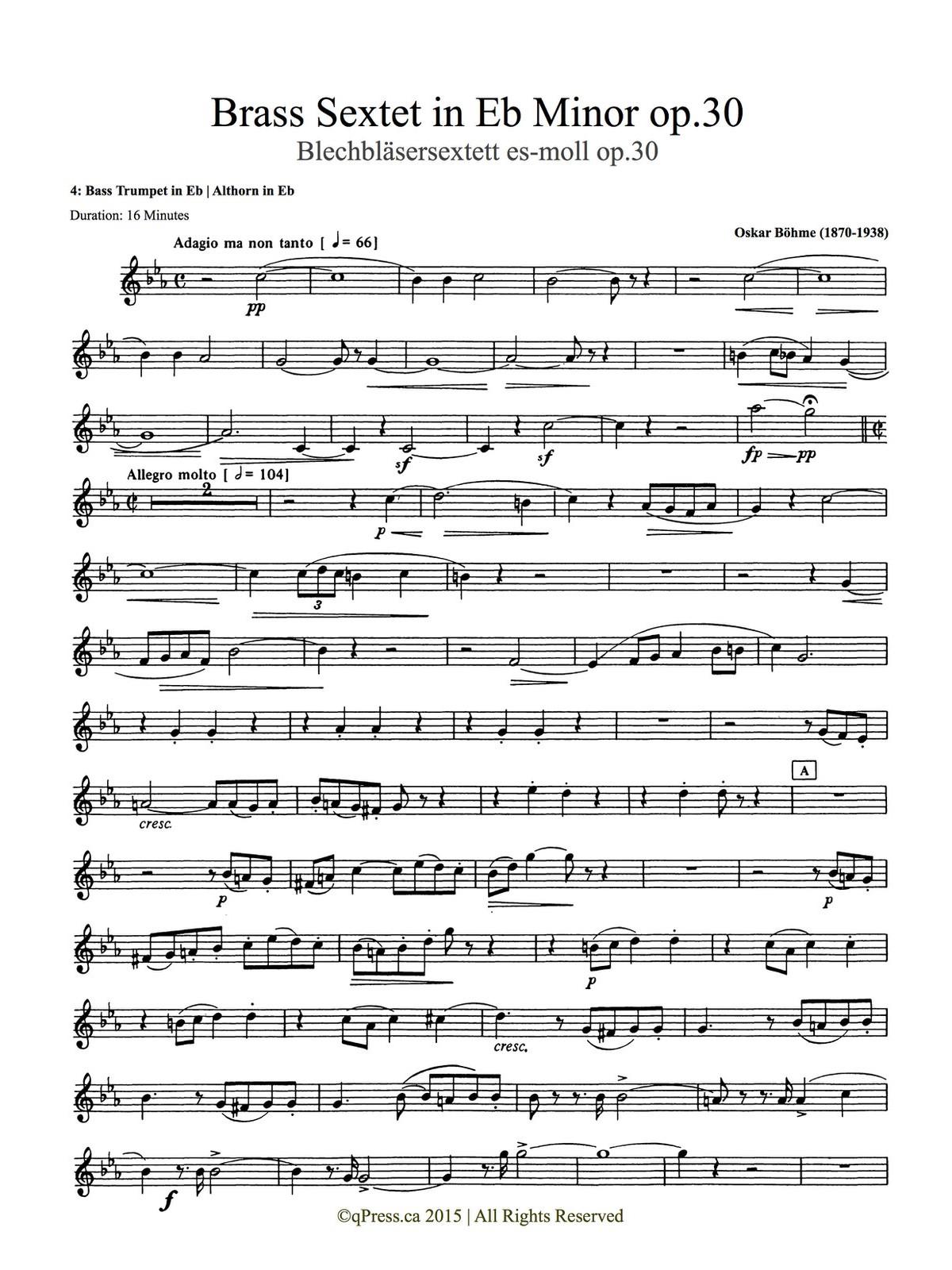 Bohme, Sextet (Score and Parts) 6