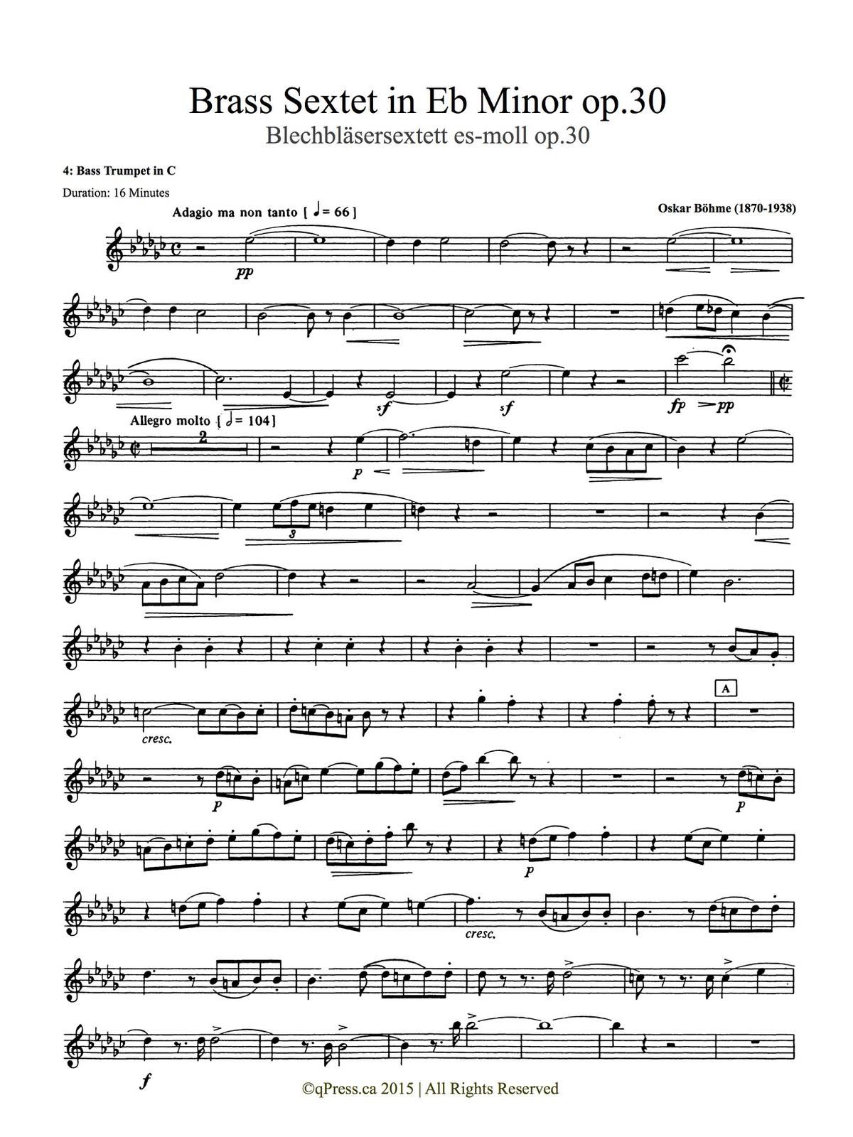 Bohme, Sextet (Score and Parts) 7