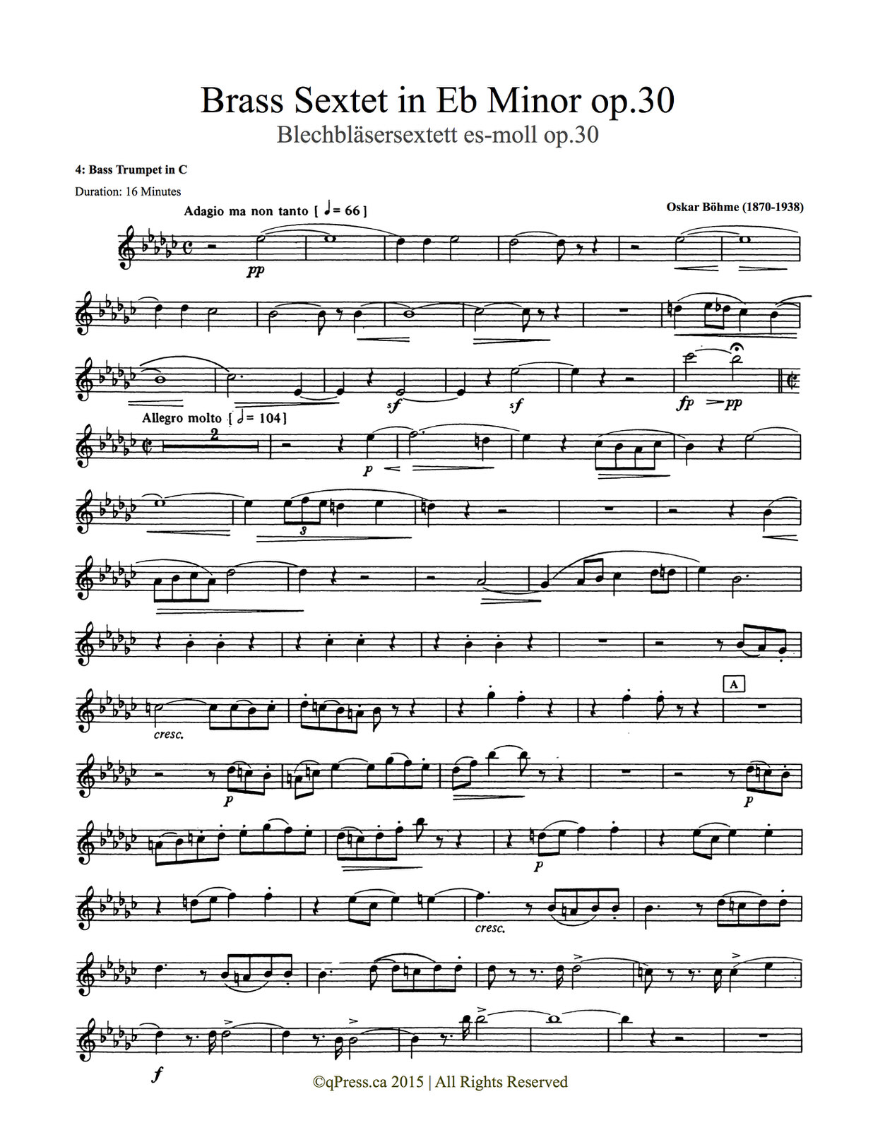 Bohme, Sextet (Score and Parts) 7