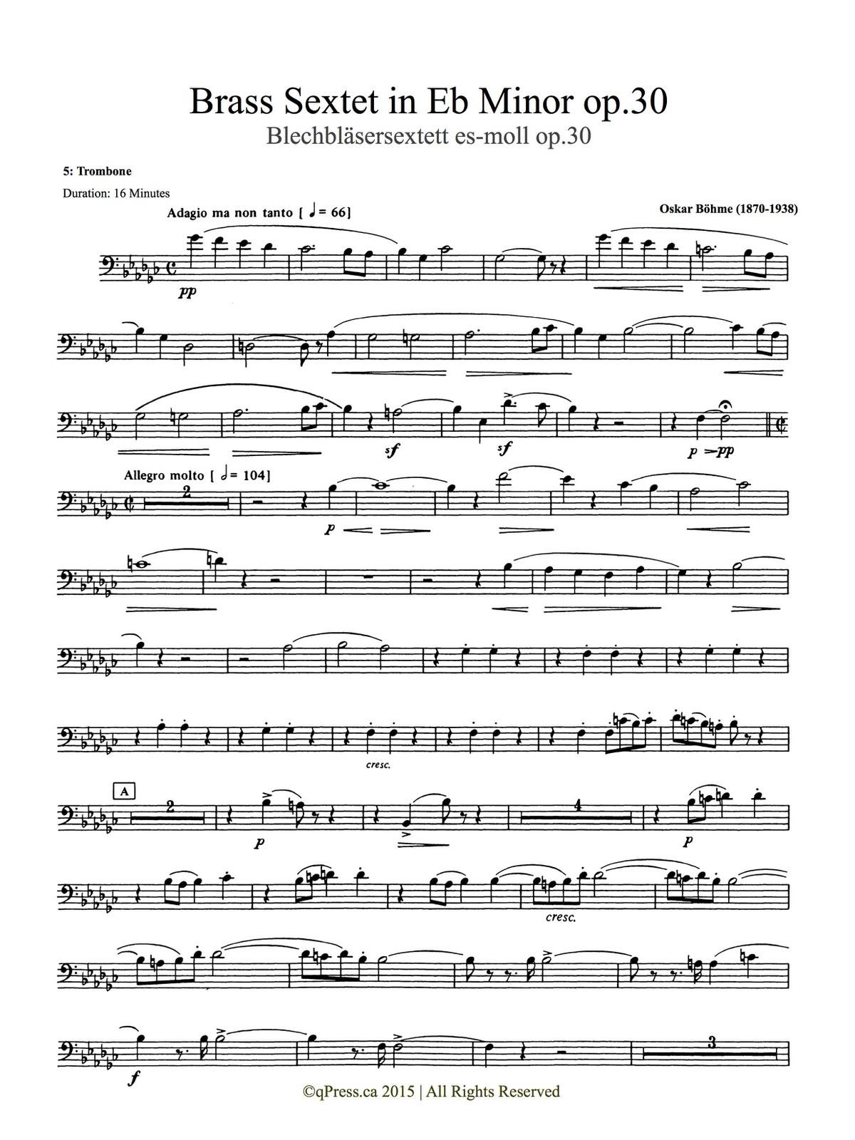 Bohme, Sextet (Score and Parts) 8