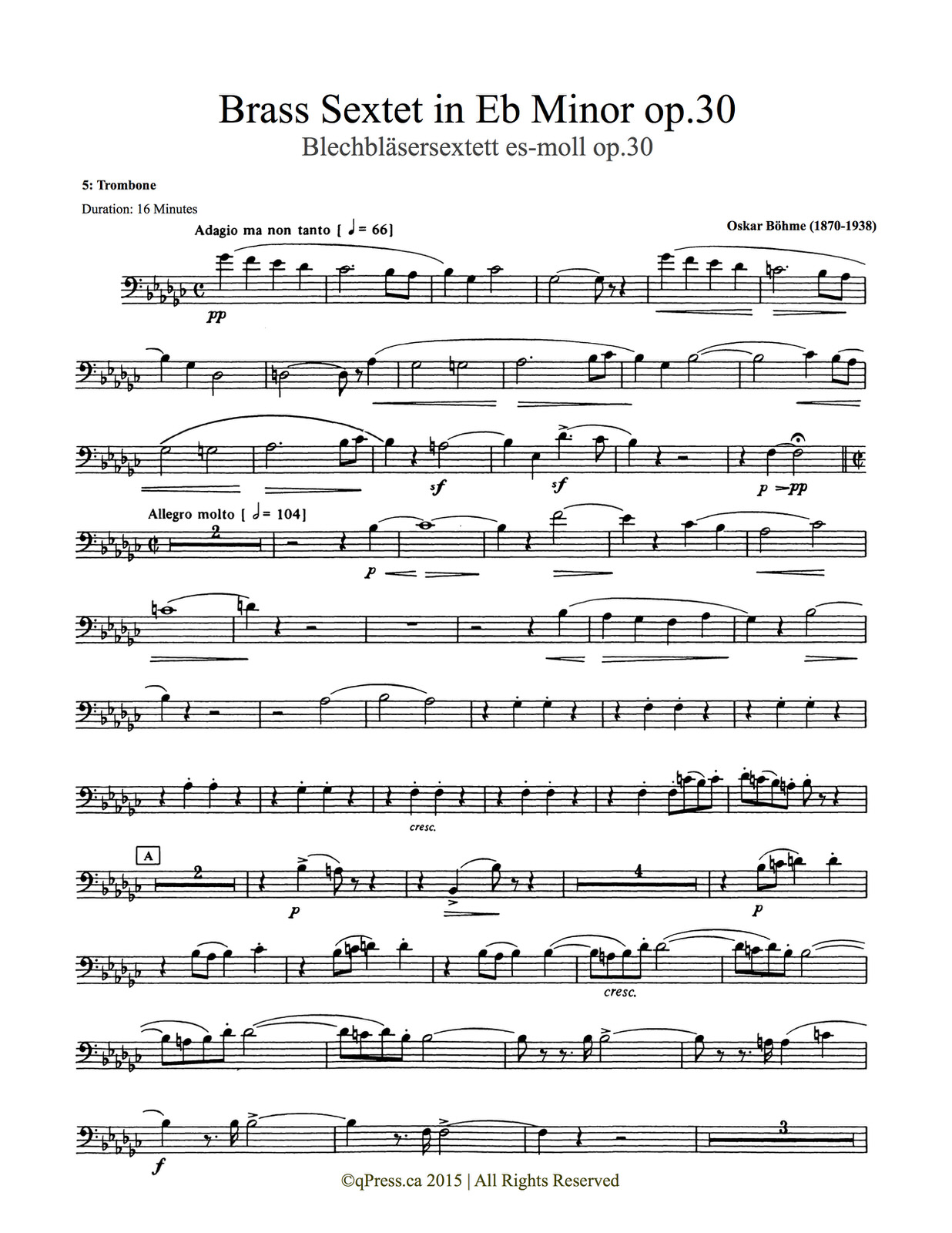 Bohme, Sextet (Score and Parts) 8
