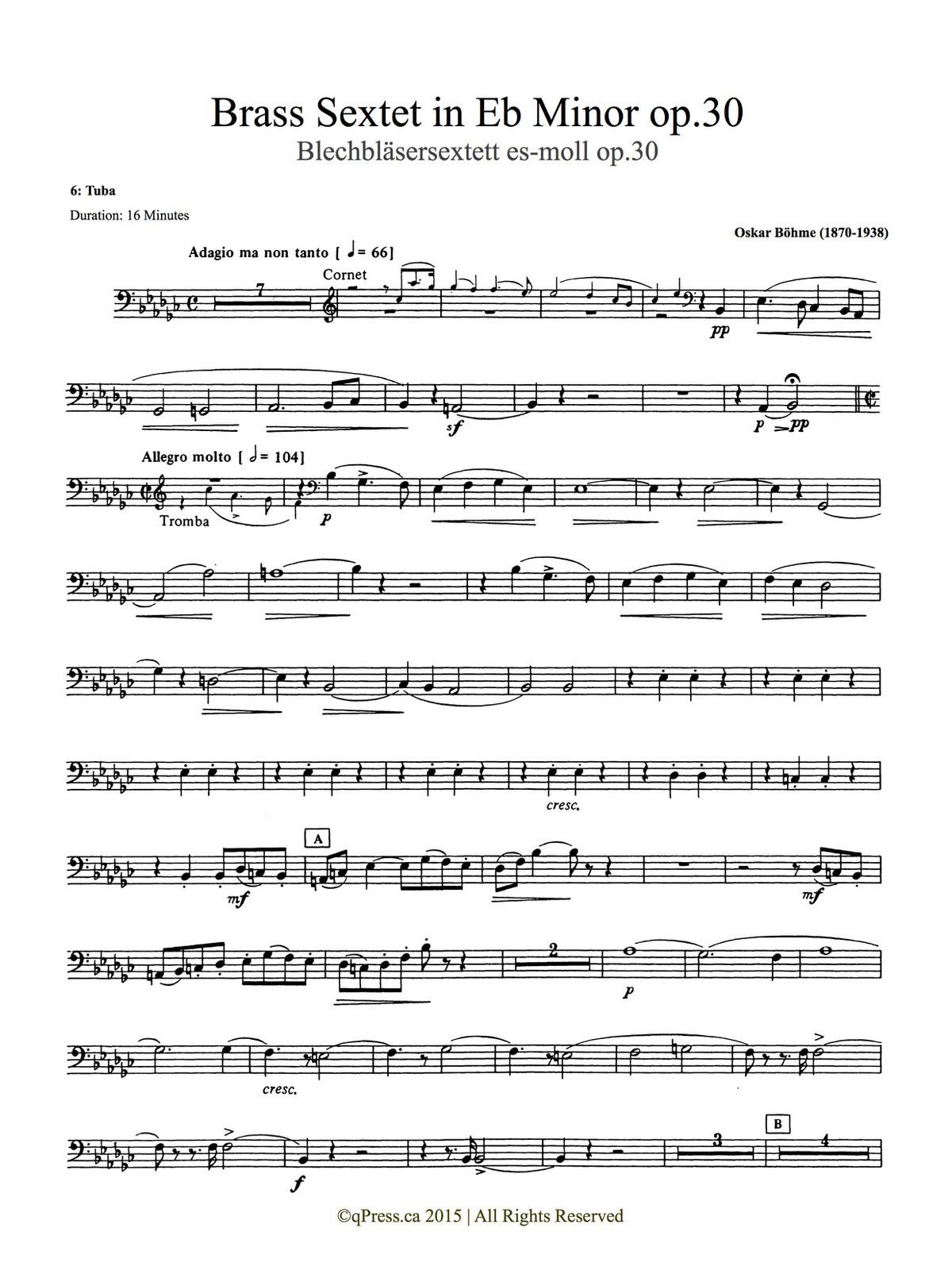 Bohme, Sextet (Score and Parts) 9
