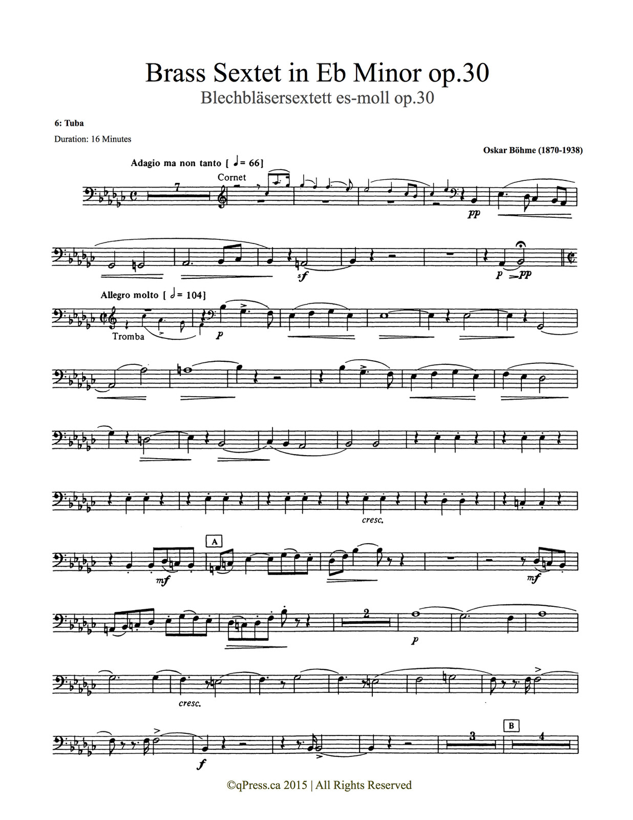 Bohme, Sextet (Score and Parts) 9
