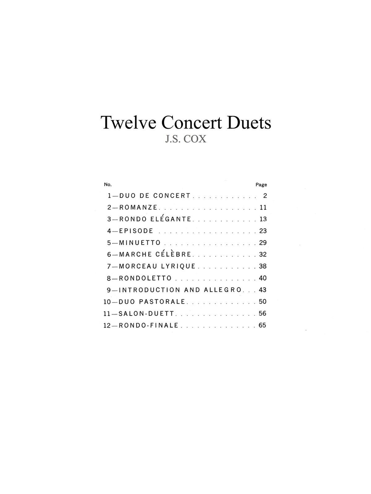 Cox, JS Twelve Concert Duets 2