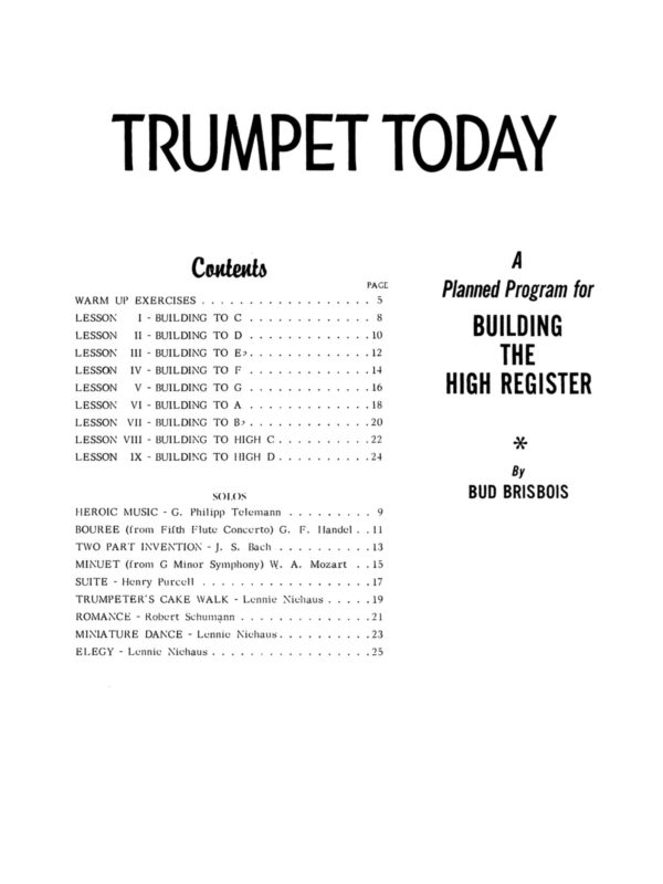Brisbois, Trumpet Today, Building the Upper Register 2