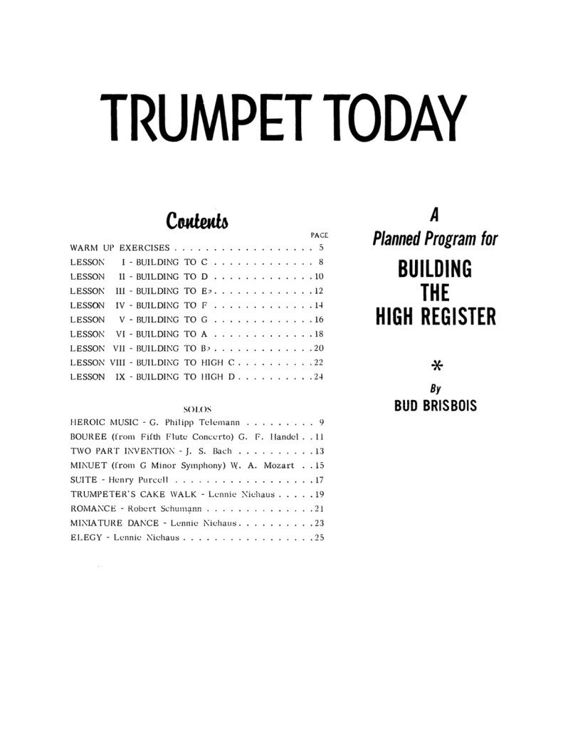 Trumpet Today, A Planned Program for Building the High Register