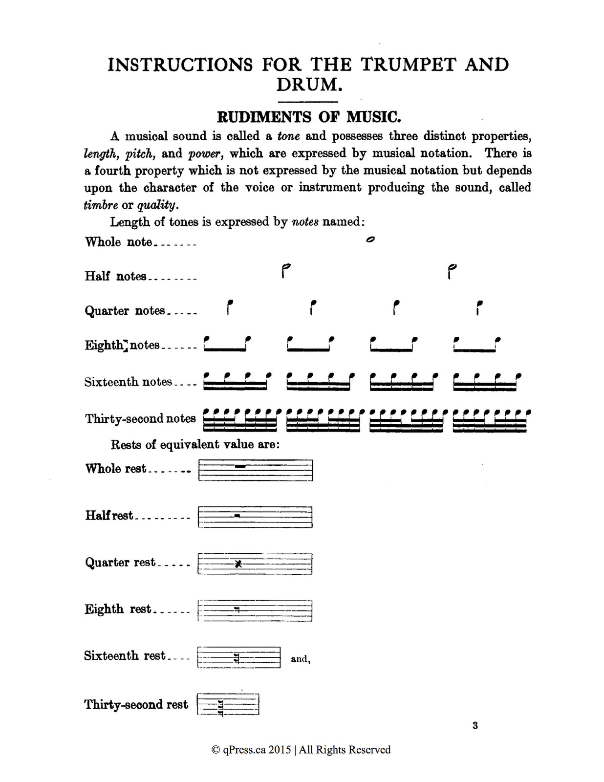 Military, Instructions for the trumpet and drum 2