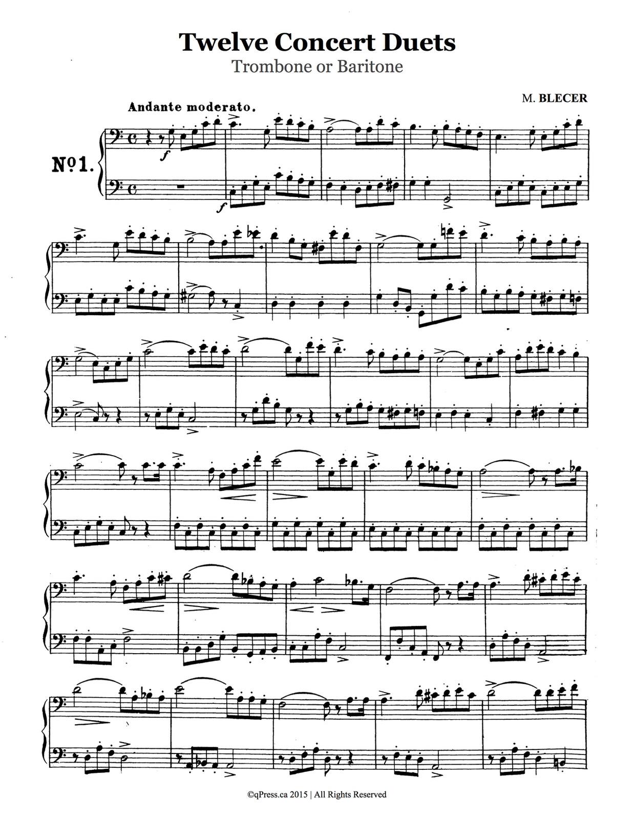 Bleger, 12 Concert Duets for Trombone 2