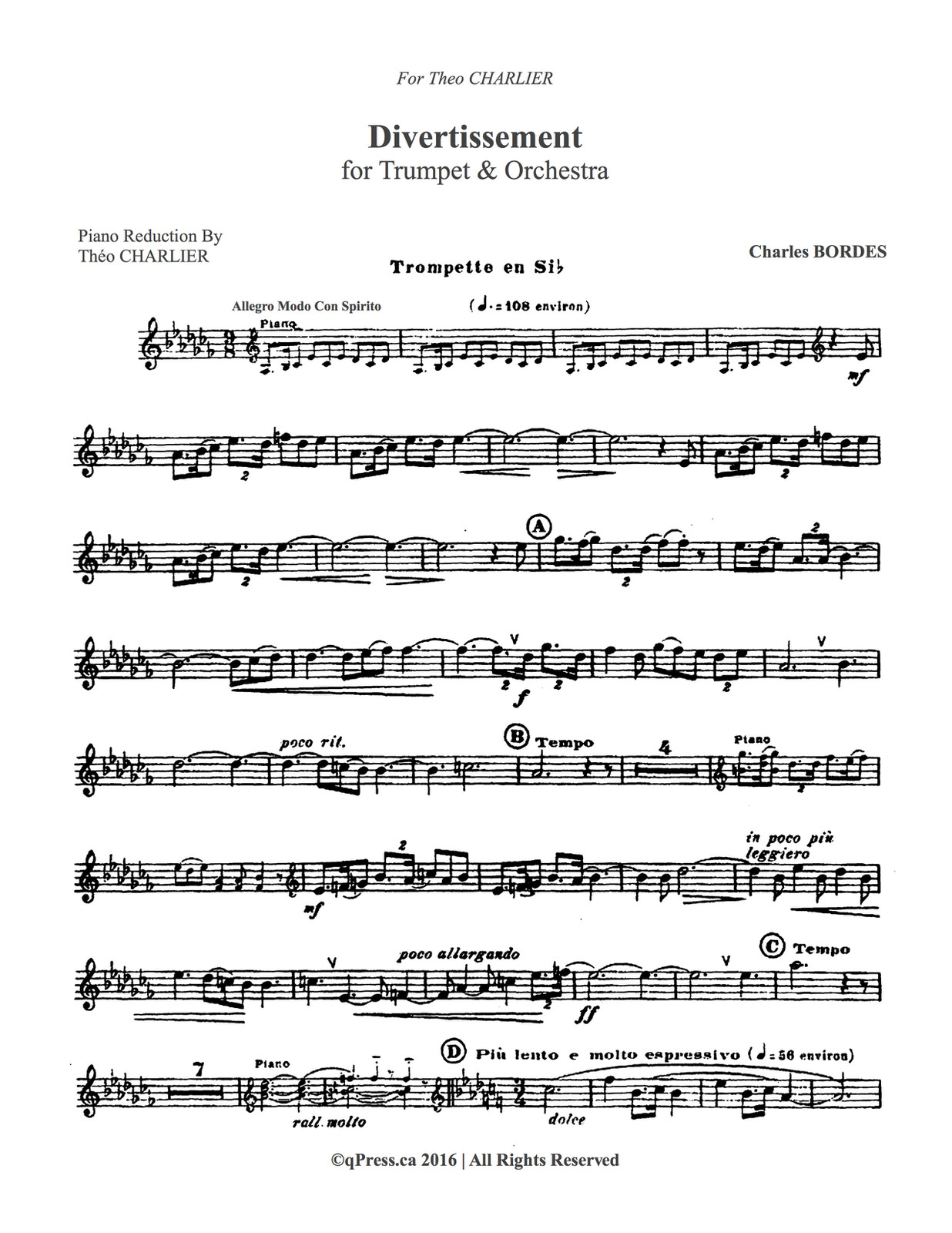 Bordes, Divertissement for Trumpet and Piano 2
