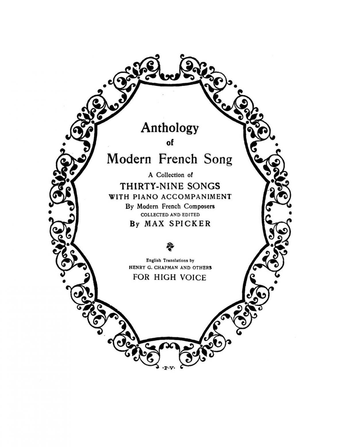 Spicker, Anthology of Modern French Song for High Voice