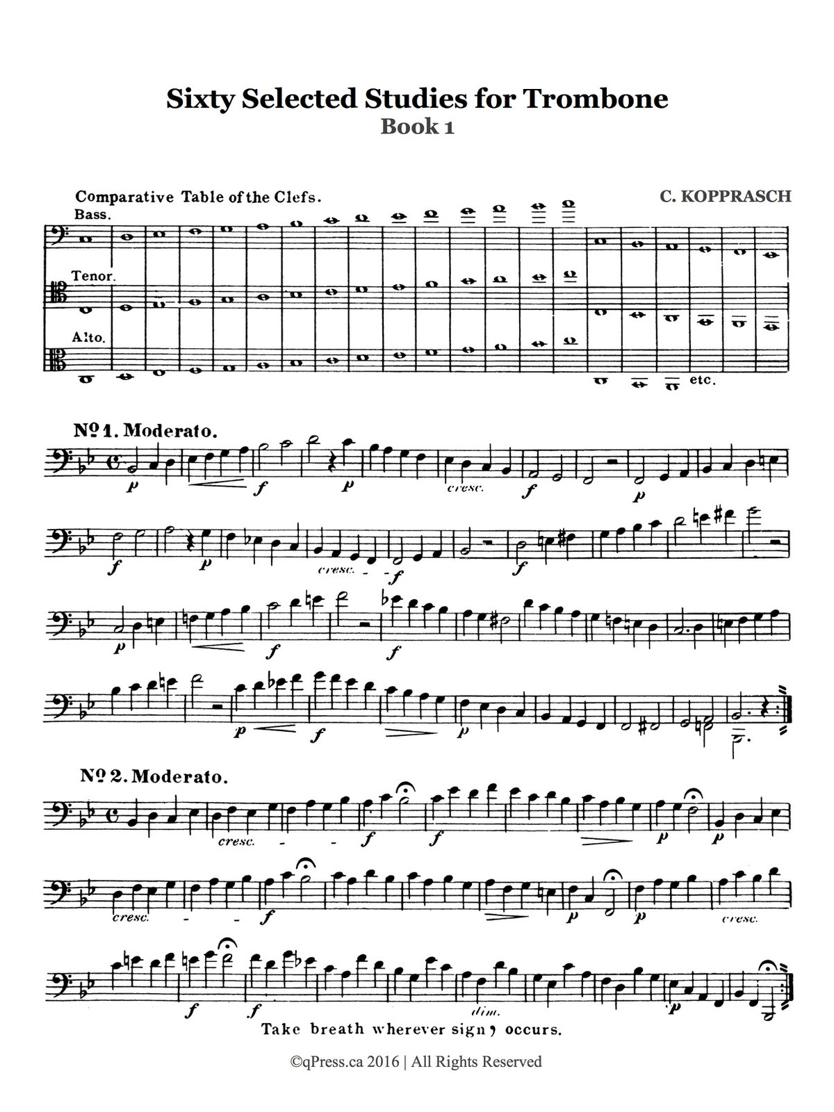 Kopprasch, 60 Selected Studies for Trombone Book 1 2