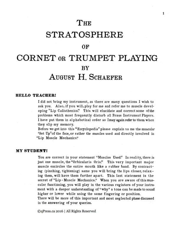 Schaefer, August H, The Stratosphere of Cornet or Trumpet Playing 2