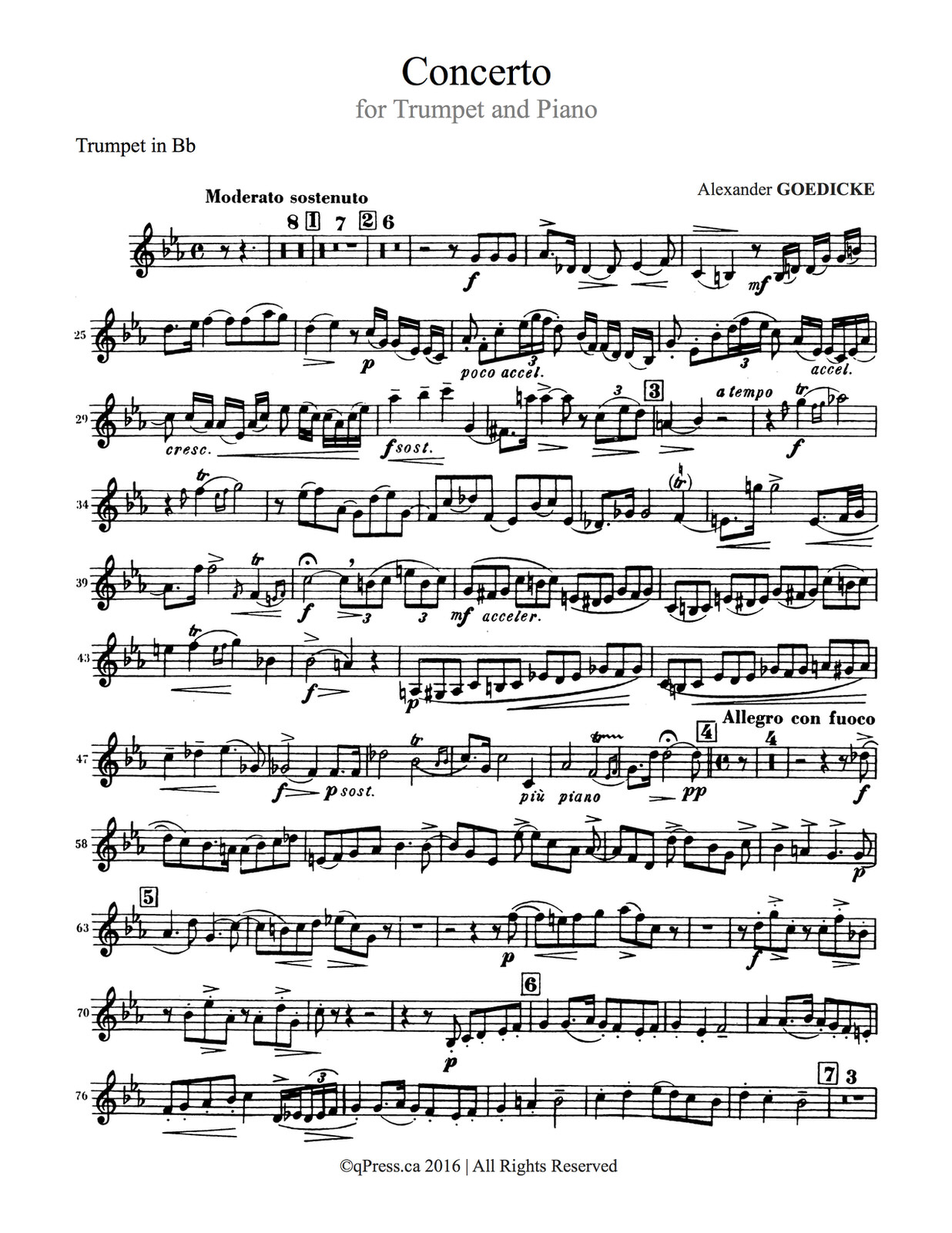 Goedicke Concerto for Trumpet and Piano by Goedicke, Alexander | qPress