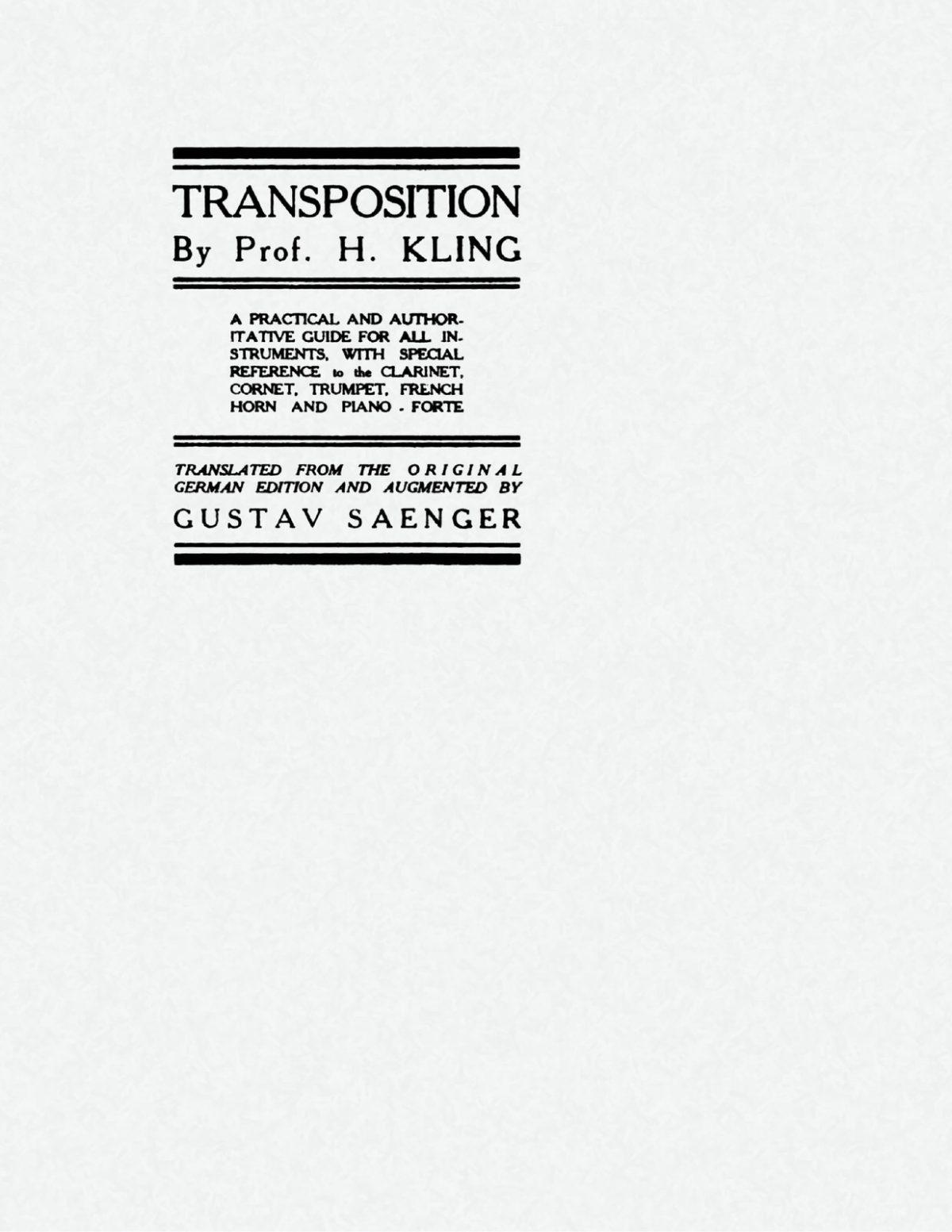 Kling, Transposition