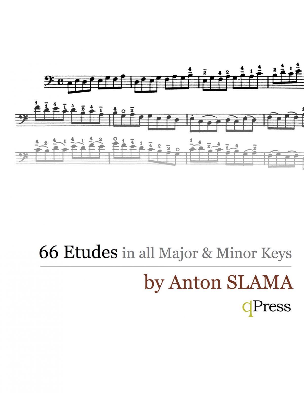 Slama, 66 Etudes in all Major and Minor Keys for Trombone, Tuba, Bassoon String Bass