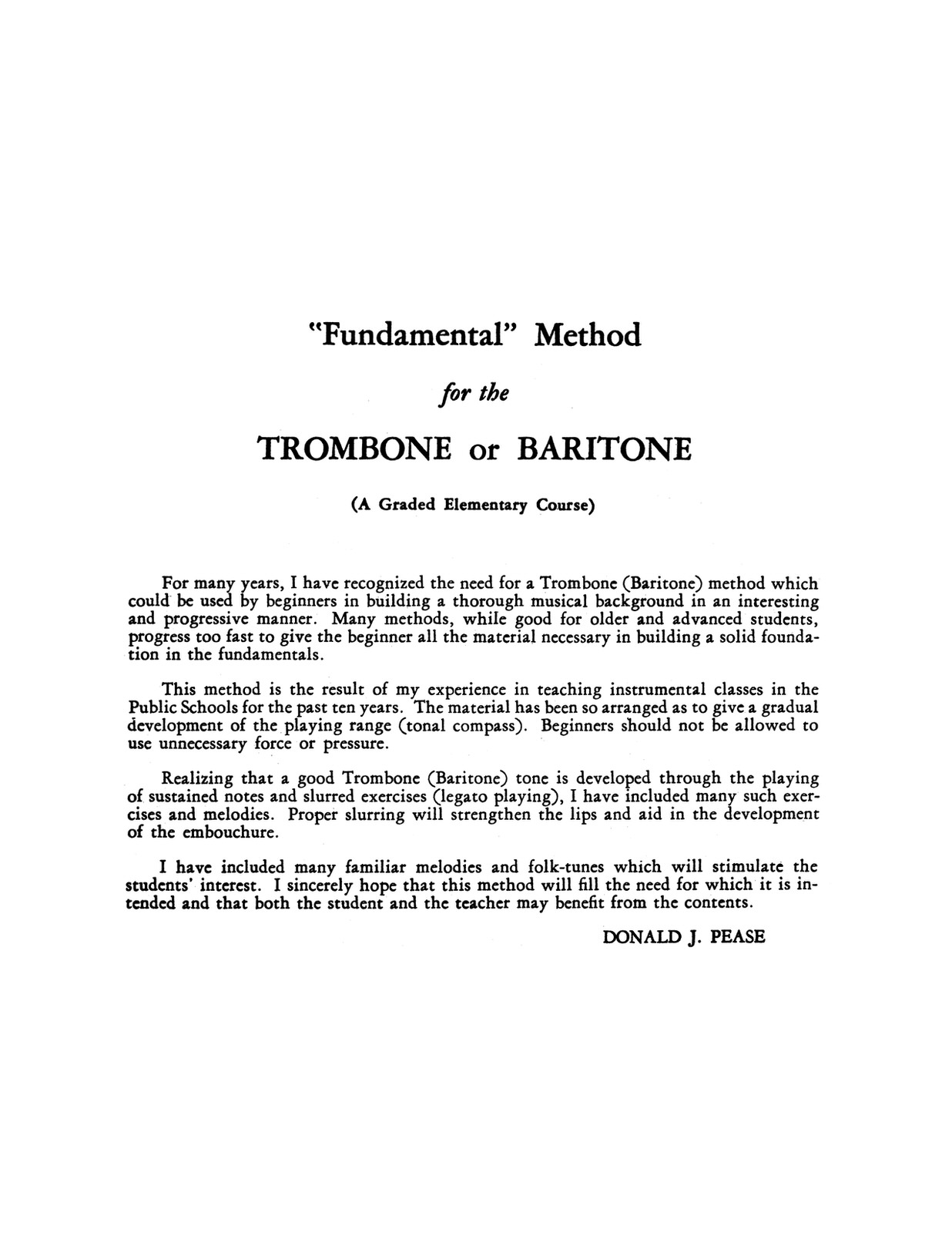 Pease, Fundamental Method for the Trombone and Baritone 2