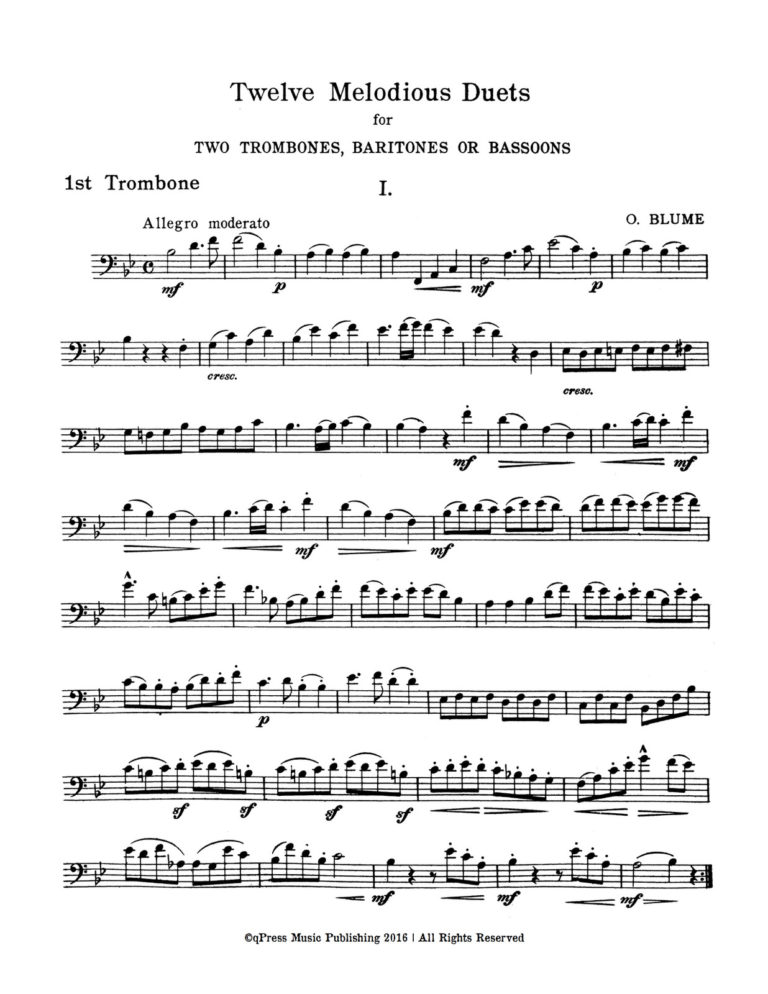 12 Melodious Duets for Trombone