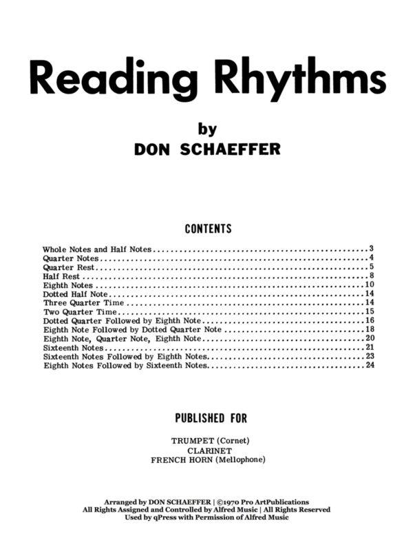 Schaeffer, Don, Reading Rhythms 2