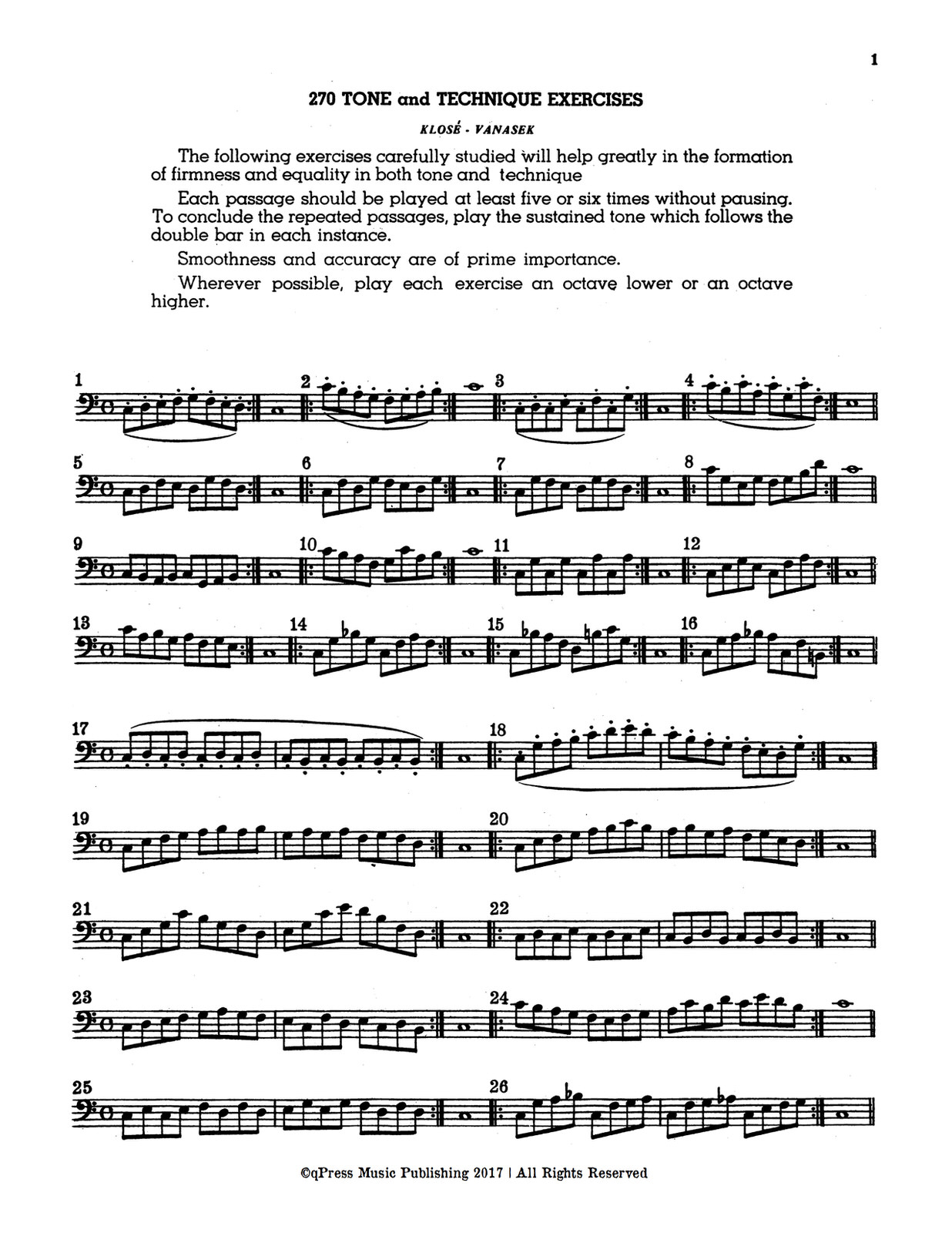 Klose-Vanasek, 270 Tone and Technique Exercises for Trombone, Baritone, or Tuba 2