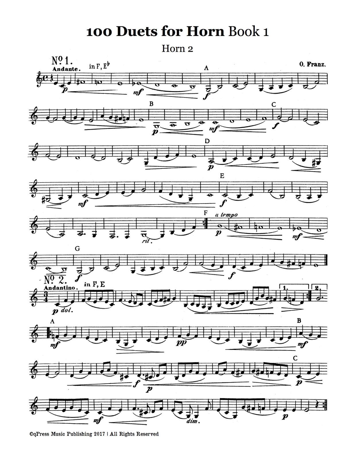 Franz, 100 Duets for Horn (Horn 2)
