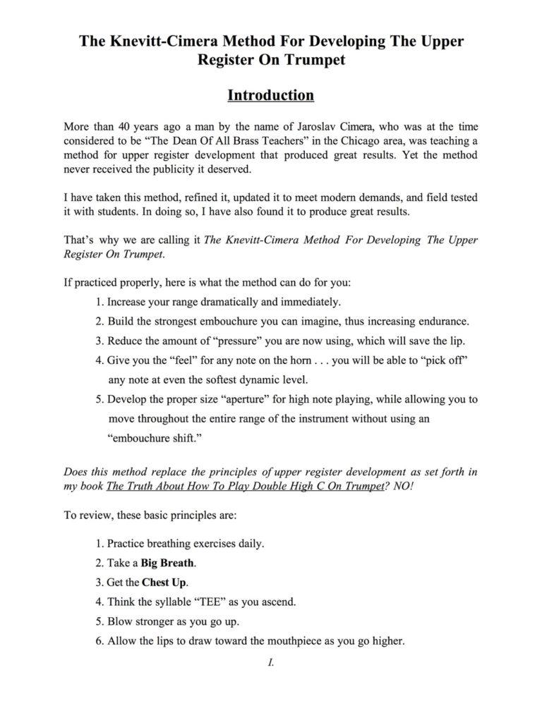 Knevitt-Cimera Method for Developing the Upper Register on Trumpet (with Recordings)