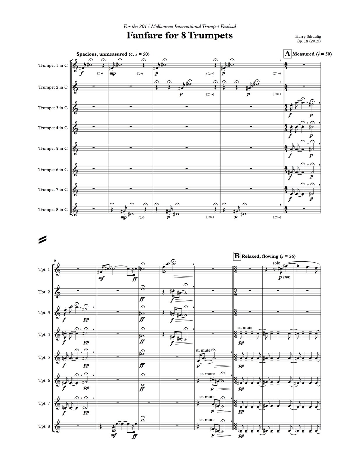 Harry Sdraulig, Fanfare for 8 Trumpets-p04