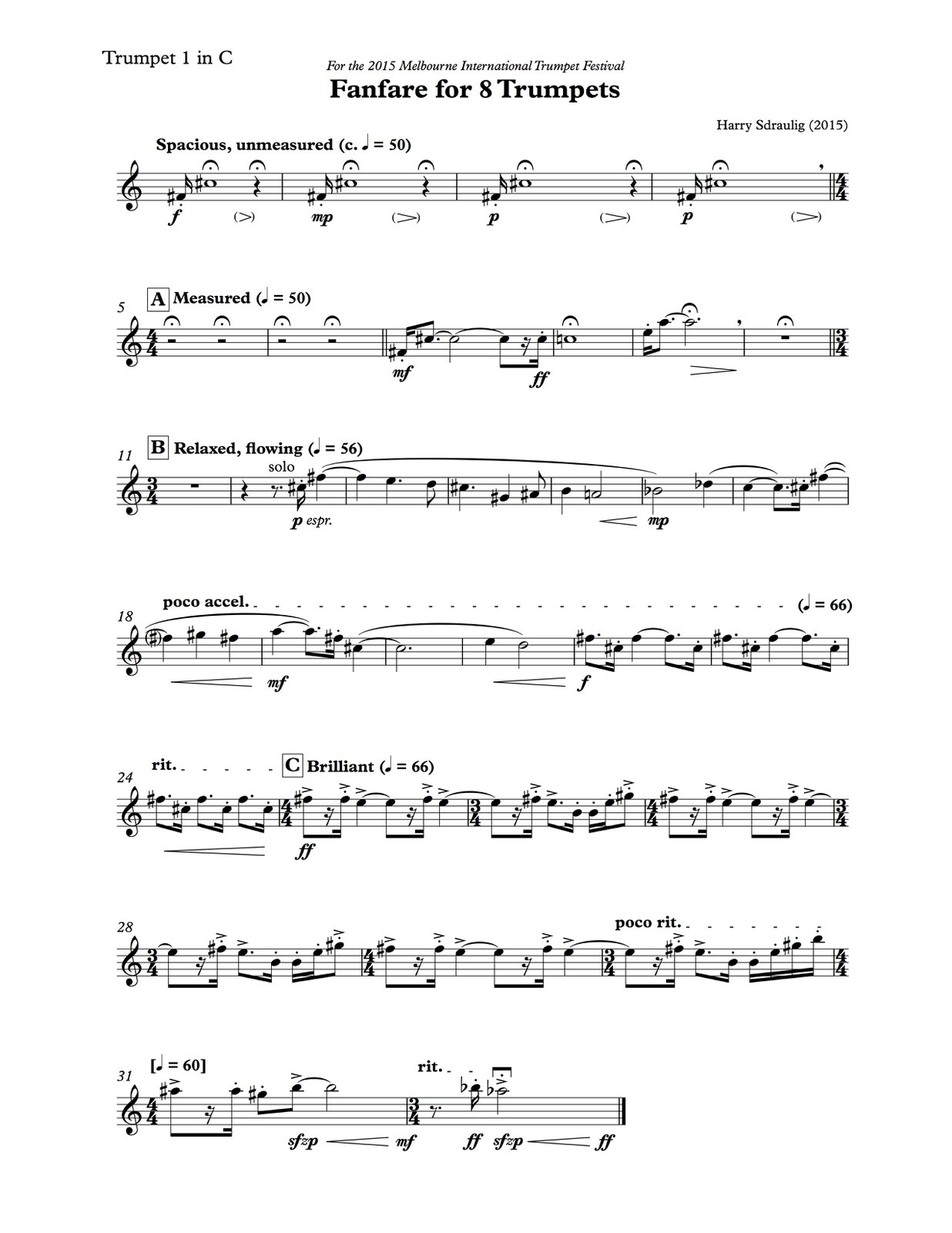 Harry Sdraulig, Fanfare for 8 Trumpets-p07