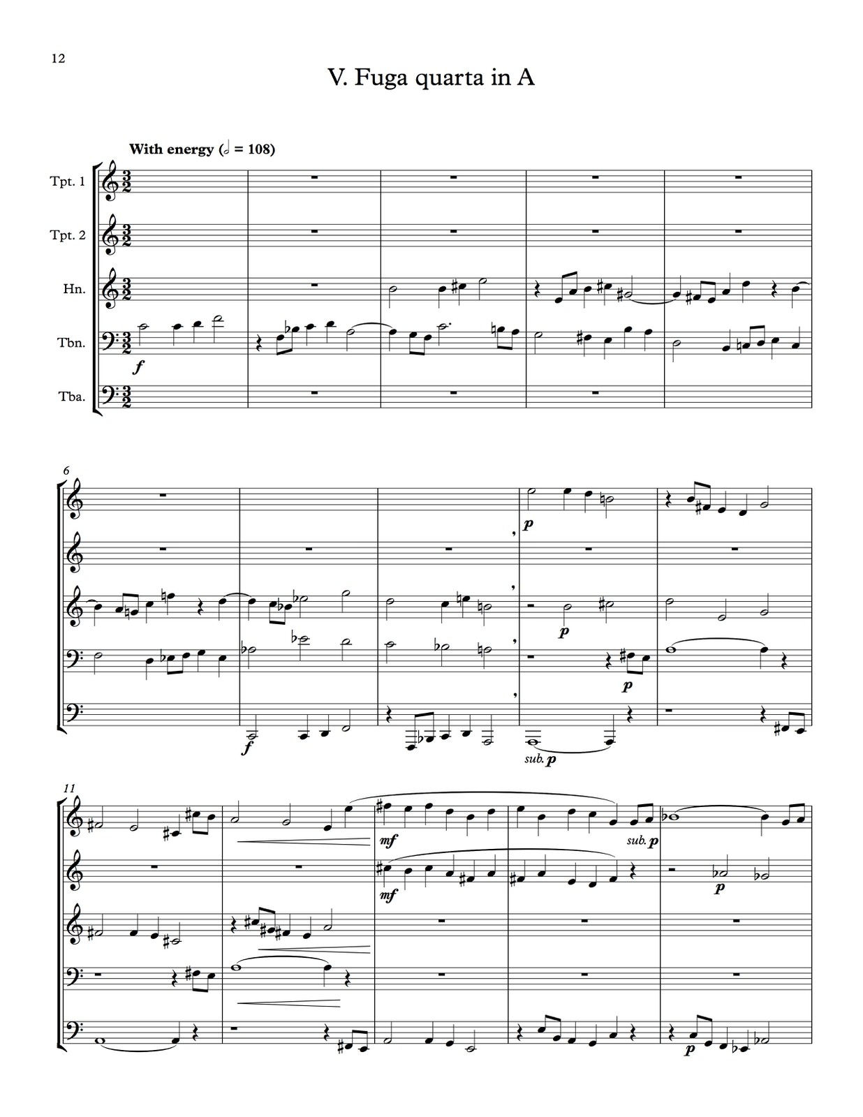 Hindemith, Five Movements from Ludus Tonalis (Score and Parts)-p44
