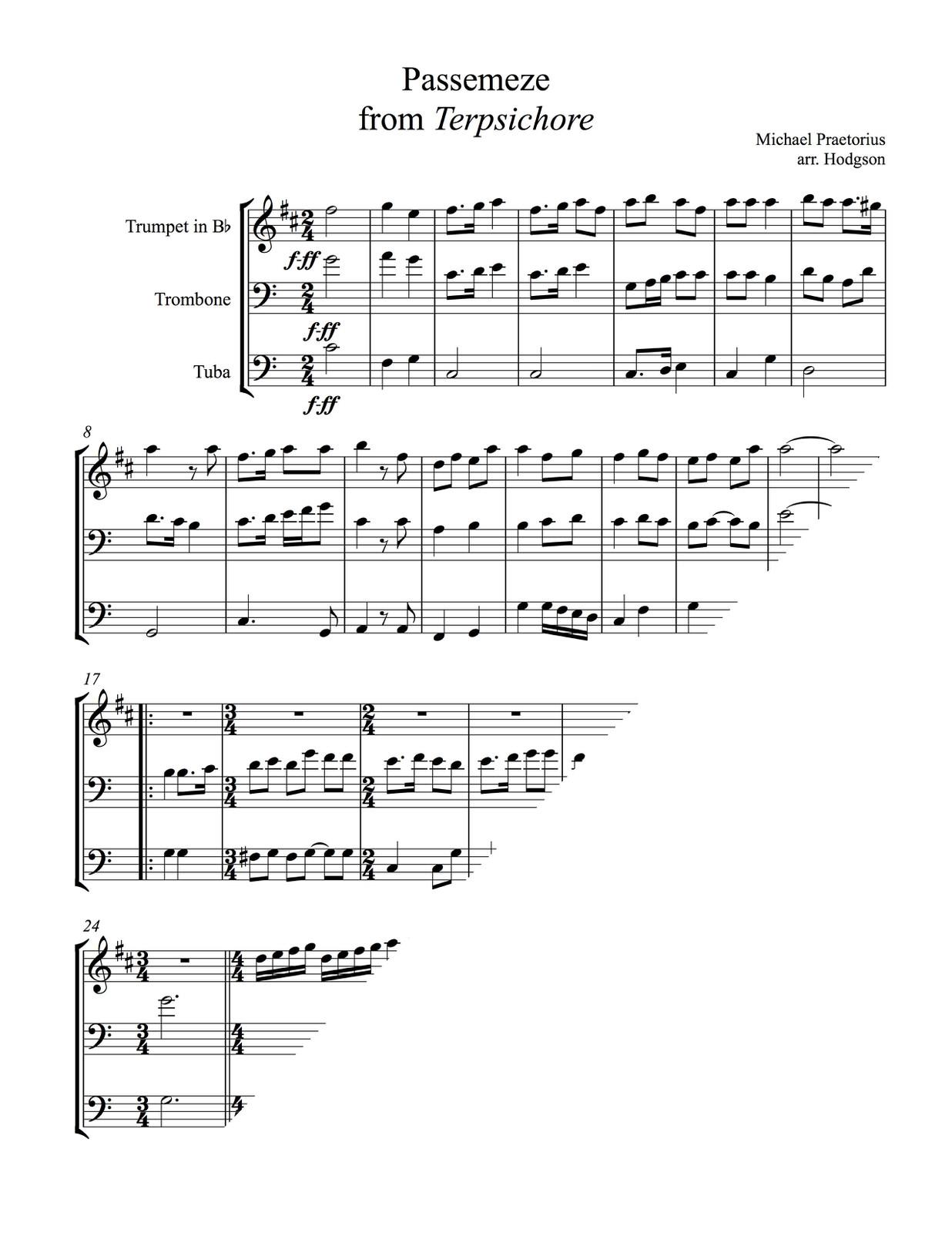 Praetorius, Passemeze from Terpsichore-p03