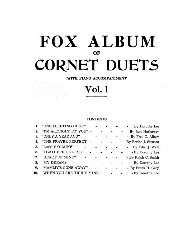 Fox Album of Cornet Duets with Piano Acc. Vol. 1-4