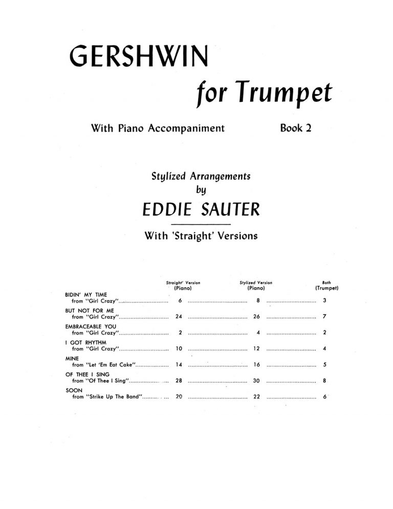 Gershwin, For Trumpet and Piano Vol.1-2 (Play Along)