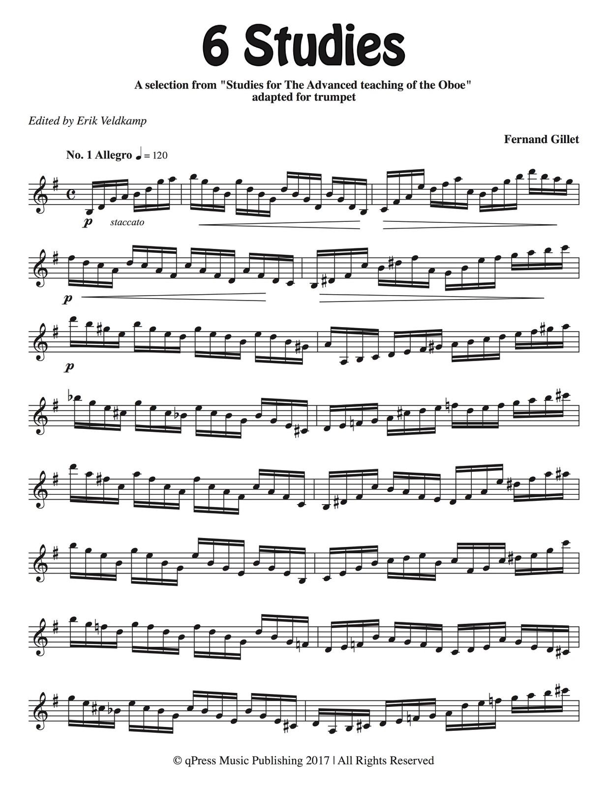 Gillet-Veldkamp, 6 Advanced Studies for Trumpet-p03
