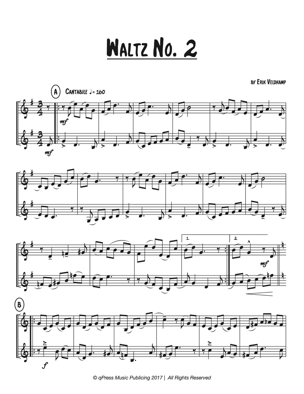 Veldkamp, Six Waltzing Duets for Two Trumpet-p06